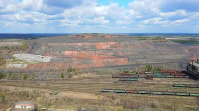 Aerial View Industrial Coal Mining at the Mine