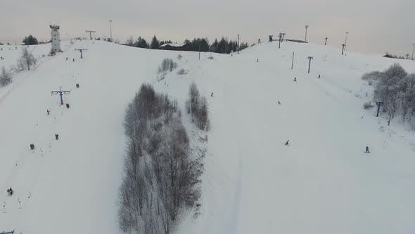 Thumbnail for Ski Resort in the Winter Season. Aerial View.