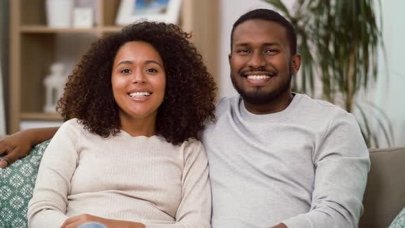 Thumbnail for Happy African American Couple Kissing at Home