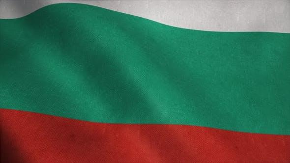 Drapeau bulgare agitant dans le vent