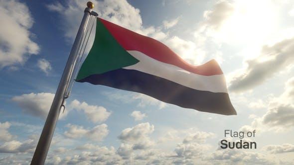 Sudan Flag on a Flagpole