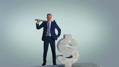 Mature Entrepreneur Crushing Dollar Symbol