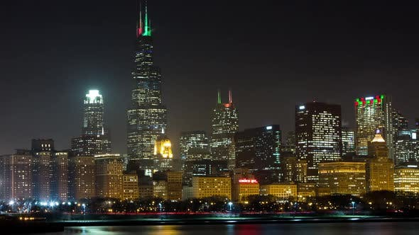 Night time lapse of Chicago