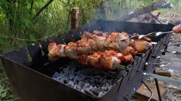 Skewers on Skewers Are Prepared on the Grill. Raw Meat Cooked on Charcoal Grill