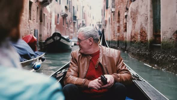 Thumbnail for Happy Senior European Male Traveler in Gondola Excited, Enjoying Venice Canal Tour Excursion on