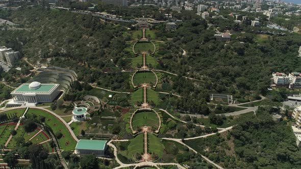 Aerial of Baha'i Gardens and Universal House of Justice
