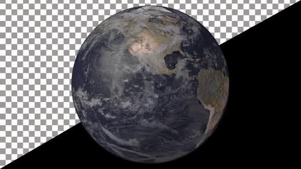 Earth Globe Rotate With Alpha