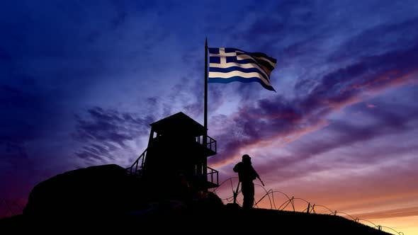 Thumbnail for Greek Soldier On The Border At Night At The Border