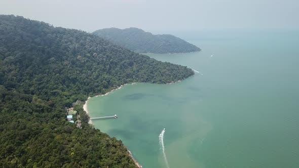A boat is move at Penang Nature Discovery of Teluk Bahang