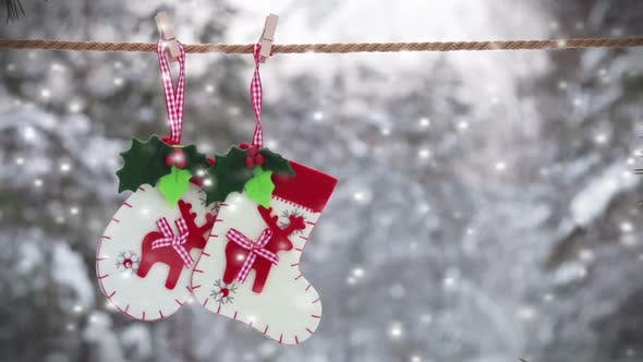 Thumbnail for Sock and Mittens with Christmas Pattern Hanging