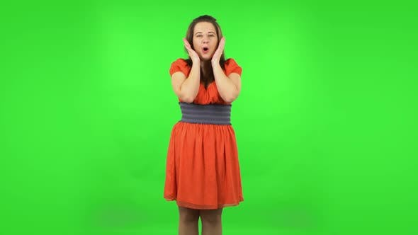 Very Surprised Girl with Shocked Wow Face Expression. Green Screen