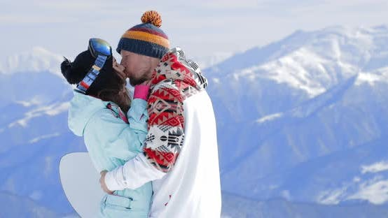 Thumbnail for Couple in Love Enjoy at Skiing in Mountains