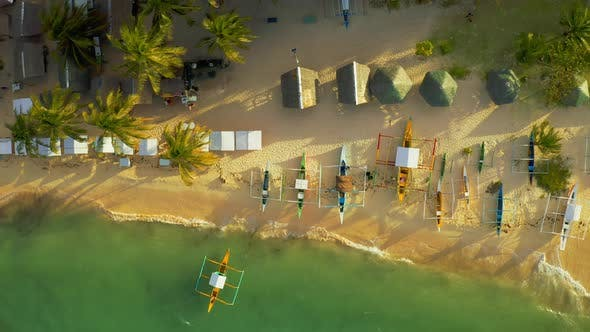 Cover Image for Aerial View of Sand Beach and Lot Tourist Boats a on Tropical Daku Island in Siargao, Philippines