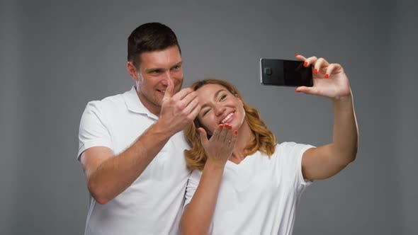 Thumbnail for Happy Couple Taking Selfie By Smartphone