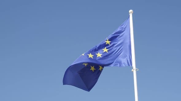 Thumbnail for Famous European Union state symbol fabric on flagpole slow-mo 1920X1080 HD footage - Recognizable EU
