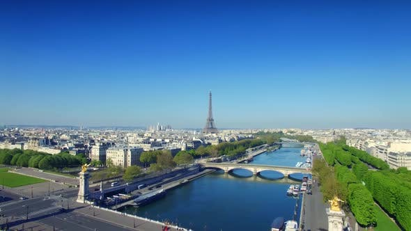 Thumbnail for Aerial View Of The Seine River And The Bridge Of Alexander 3, Paris.