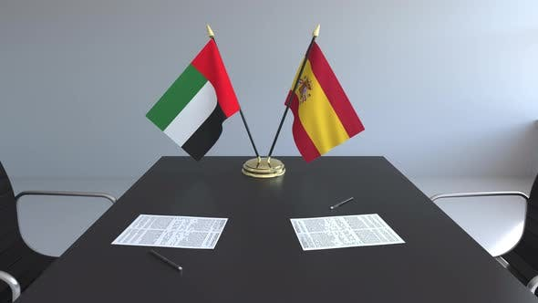 Thumbnail for Flags of the United Arab Emirates and Spain on the Table