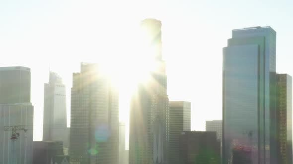 Thumbnail for AERIAL: Backing Up From Downtown Los Angeles, California Skyline with Look at Skyline Skyscrapers at