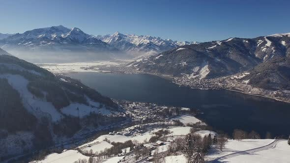 Thumbnail for Aerial view of Zell am See on a winter day