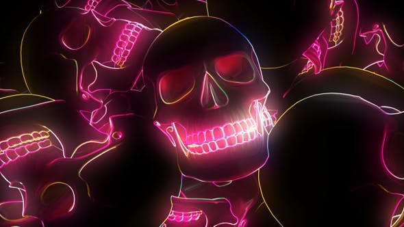 Thumbnail for Neon Glowing Skull 4k