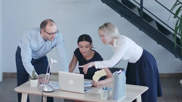 Thumbnail for Beautiful Business People Are Using Laptop, Studying Documents, Talking and Smiling While Working in