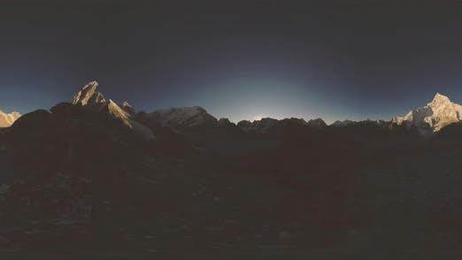 Thumbnail for UHD  360 VR of Mount Everest Golden Sunrise Time Lapse. The Sunlight on the Peak