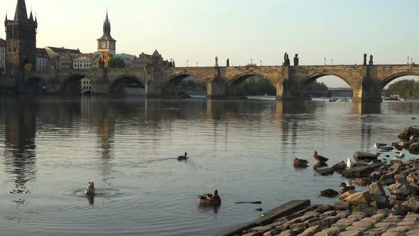 Thumbnail for Charles Bridge Over the River Vitava, Czech Republic at Sunset