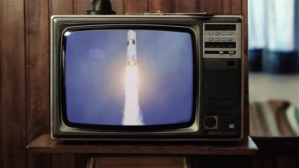 Thumbnail for Apollo 11 Launch in 1969 as Seen on a Retro TV.