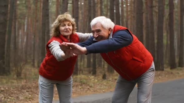 Cover Image for Old Athletes Exercising on Fresh Air