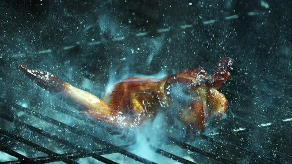Grilling BBQ Chicken Wings in ultra slow motion 1500fps on a Wood Smoked Grill - BBQ PHANTOM 007