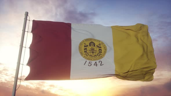 San Diego Flag California Waving in the Wind Sky and Sun Background