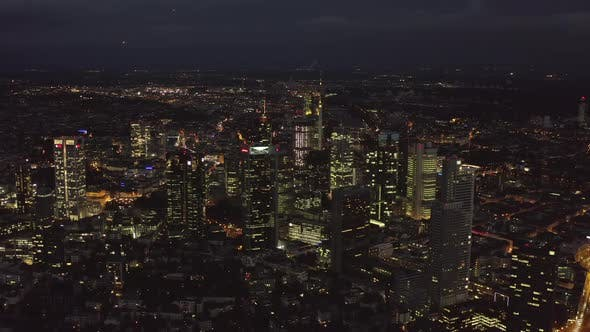 Thumbnail for AERIAL: Frankfurt Am Main, Germany Skyline at Night, Big City, Lights, Skyscraper