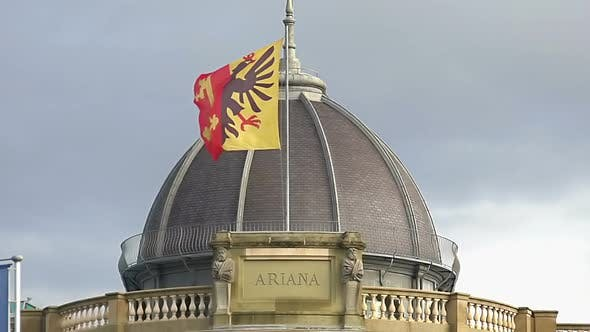 Thumbnail for Geneva Flag on Musee Ariana Roof, Swiss Museum of Ceramics and Glass,