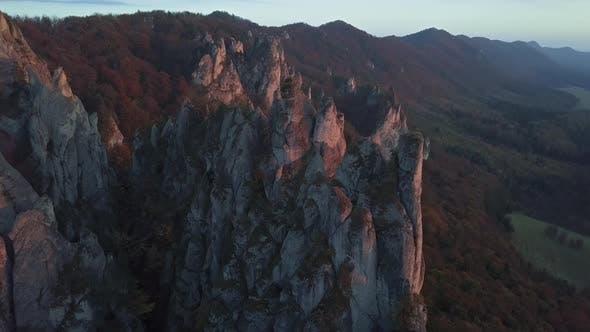 Flight Around of Cliffs at Sunset