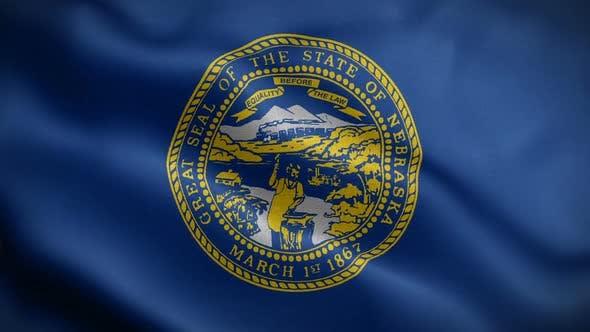 Nebraska State Flag Blowing In Wind