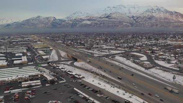 Aerial view of freeway intersection on I-15 in Utah County
