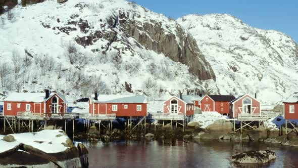 Thumbnail for Norwegian Winter Landscape With The Multicolored Rorbu And Fishing Ships