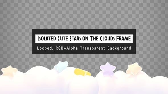 Thumbnail for Isolated Cute Stars On The Clouds Frame