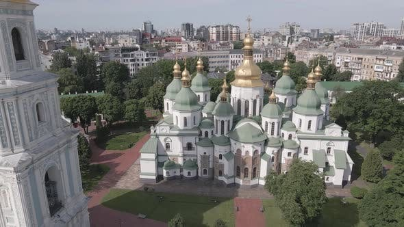 Thumbnail for Kyiv. Ukraine: Saint Sophia's Cathedral in Kyiv. Aerial View, Flat, Gray