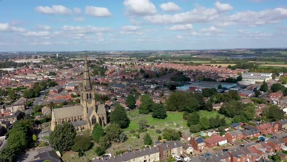 Aerial footage of the British town of Ossett, a market town in the UK