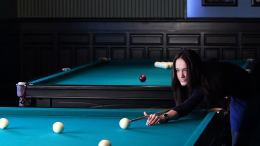 Thumbnail for Beautiful Young Woman Playing Billiards 3