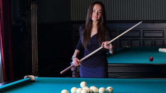 Thumbnail for Beautiful Young Woman Playing Billiards 2