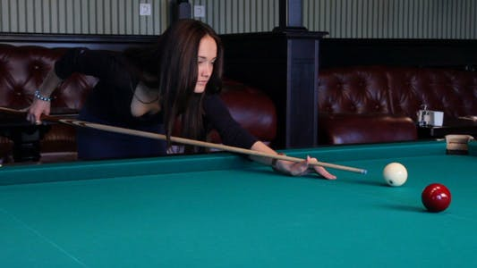 Thumbnail for Beautiful Young Woman Playing Billiards 5