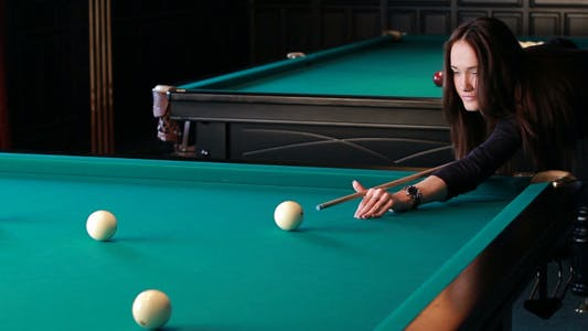 Thumbnail for Beautiful Young Woman Playing Billiards 4