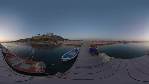 360 VR Quay View at Sunset. Father and Son Playing with Rope on the Pier