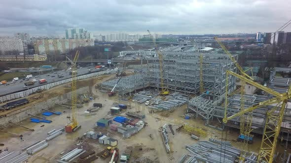 Thumbnail for Construction Site with Steel Structures in Moscow, Aerial View