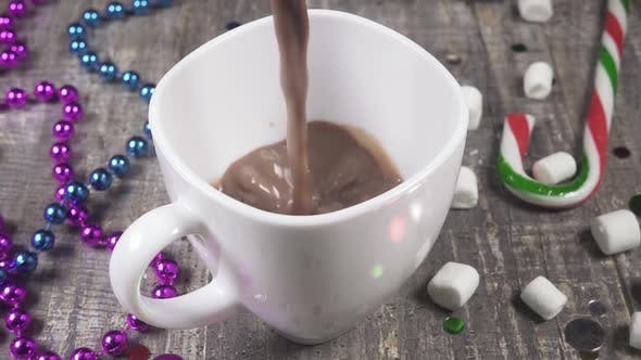 Cover Image for Slow Motion Pour New Year's Hot Chocolate in a Mug