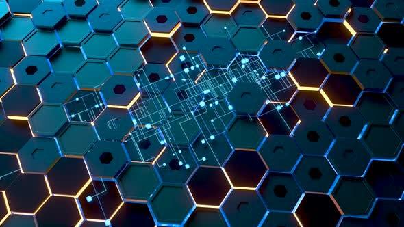 Glowing hexagonal cubes background, hi-tech cyberspace.