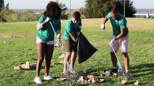 Group of Volunteers Picking Garbage