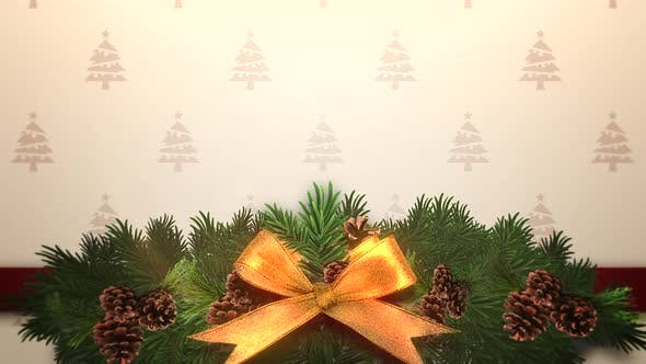 Thumbnail for Animated closeup Christmas green tree branches on gift box